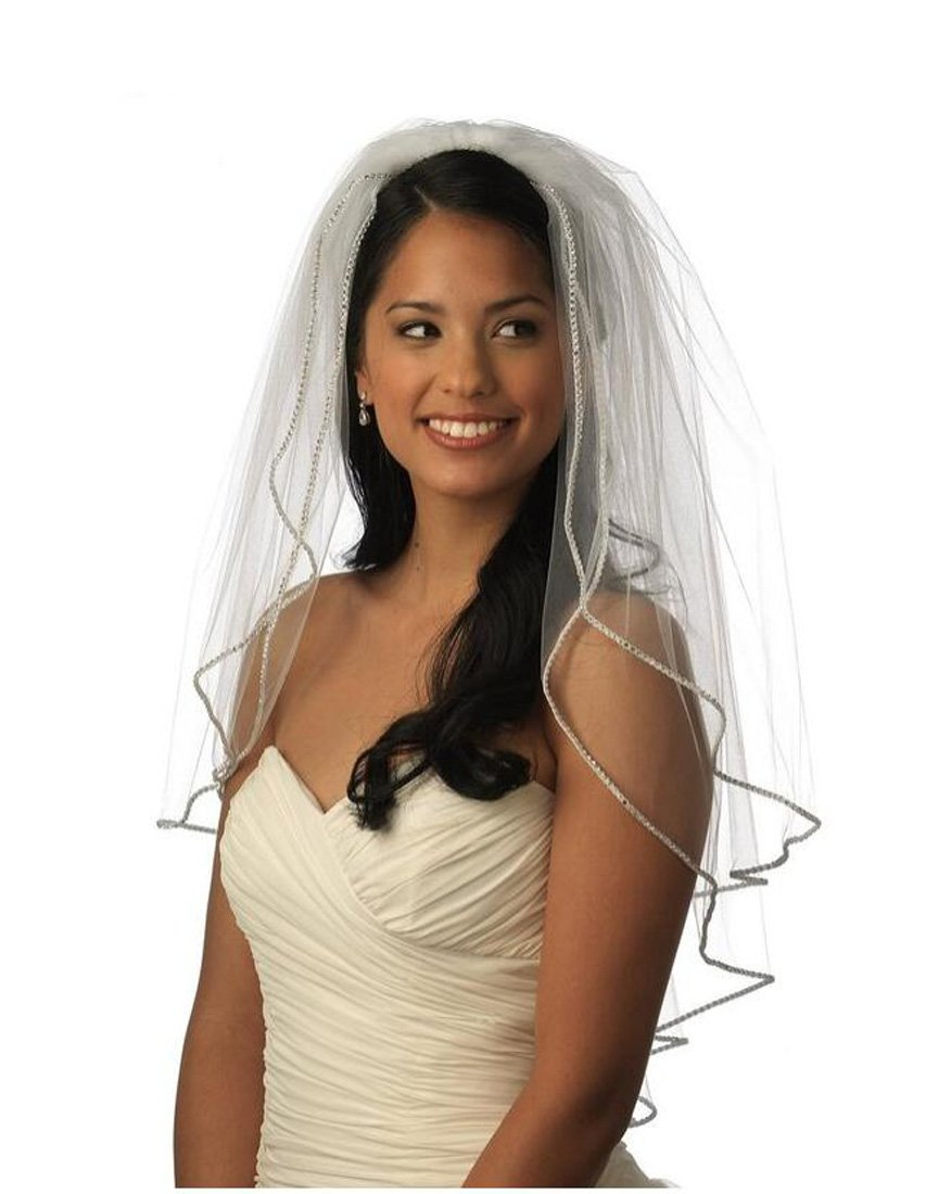 Top-Sexy Pale Ivory 2 Tiers 110CM Walking Veil Bling Diamonds Lined Wedding Bridal Veil 07