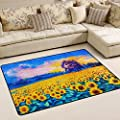 WOOR Oil Painting Of Sunflowers Living Area Rugs for Living Room Bedroom Dining Office 6 x 4 Feet Modern Floor Mat Home Decor