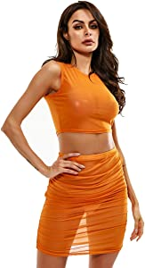 Neon Green Orange Mesh Sexy Two Piece Set Skirt and… Sweepstakes