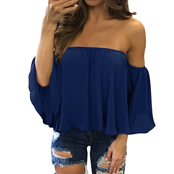 Adelina Camiseta De Manga Larga para Mujer Blusa Casual Backless con Hombros Descubiertos Verano Camisas Tul