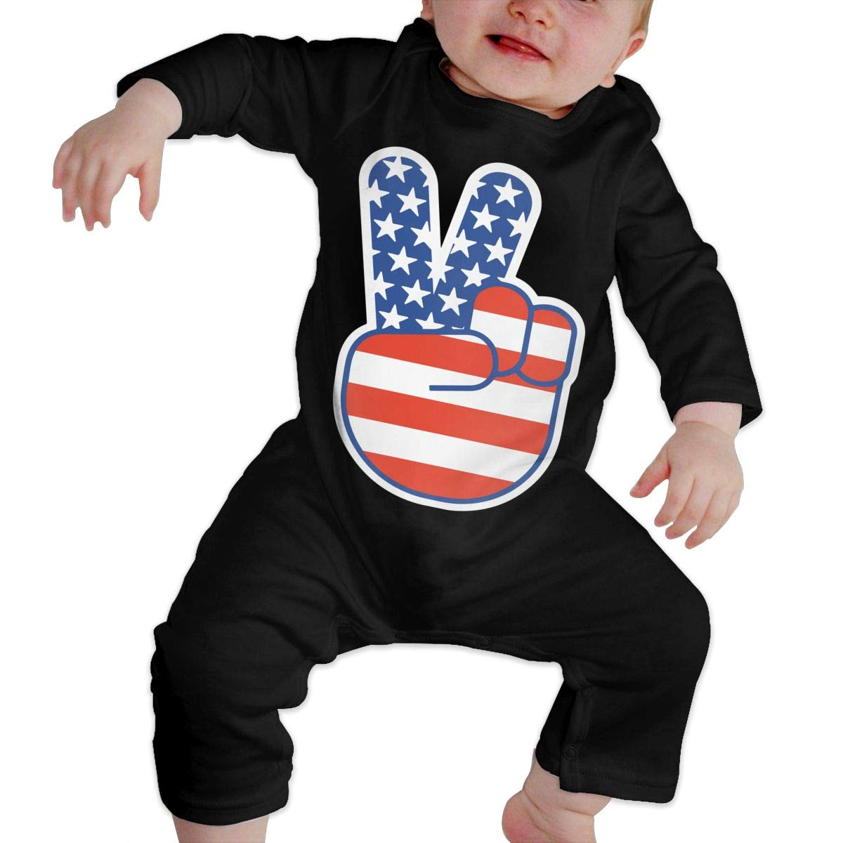 LBJQ8 USA Peace Sign Infant Girls Boys Essential Basic Coveralls Jumpsuits