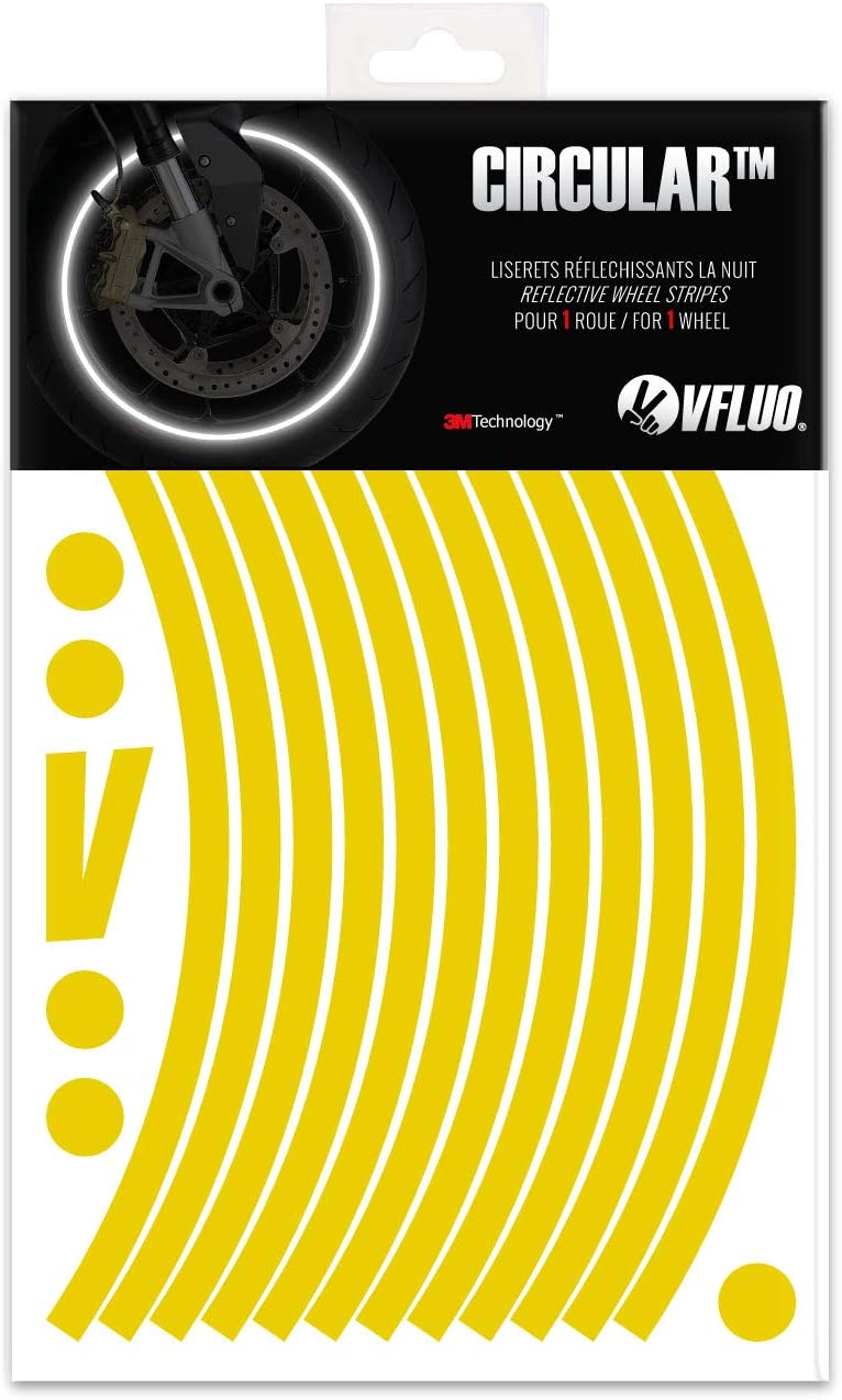 1 wheel 7 mm width Yellow Fluo motorcycle retro reflective wheel stripes kit VFLUO CIRCULAR/™ 3M Technology/™