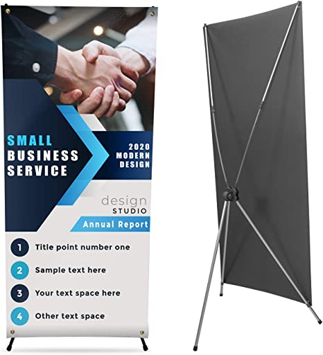 AkTop Reinforced Adjustable Tripod X Banner Stand Retractable Banner Holder Size from 23 x 63 to 31 x 71 Inch with Portable Carry Bag for Trade Show Display