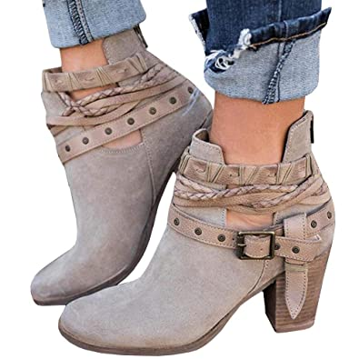 c0a1d23de97 Ermonn Womens Ankle Boots Rivet Buckle Strap Chunky Heel Back Zipper Vintage  Western Boots Grey