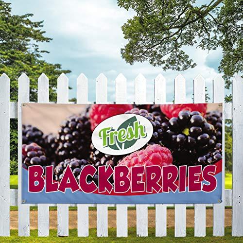 Vinyl Banner Sign Fresh Blackberries Outdoor Marketing Advertising Purple