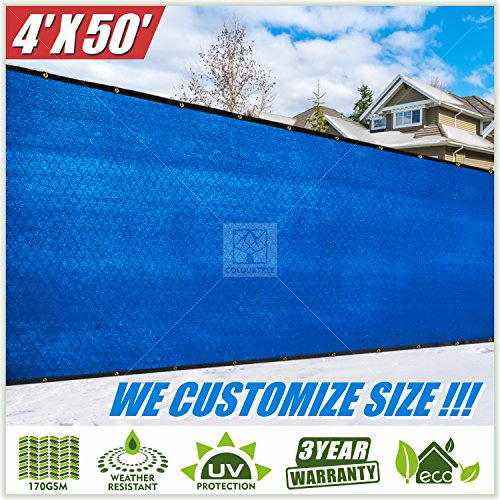 ColourTree 4' x 50' Blue Fence Privacy Screen Windscreen Cover Fabric Shade Tarp Plant Greenhouse Netting Mesh Cloth - Commercial Grade 170 GSM - Heavy Duty - 3 Years Warranty (Blue Fence)