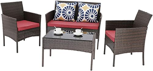Do4U 4 Pieces Outdoor Patio Furniture Set PE Rattan Chair Conversation Set Patio Chair