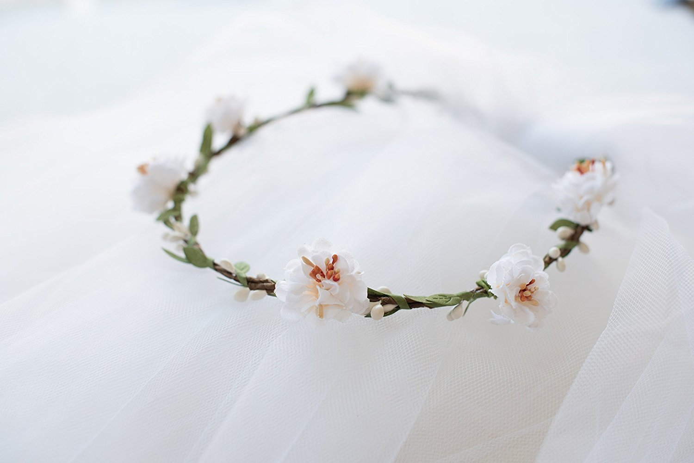 Flower Crown Veil - Bachelorette Veil - White Flowers