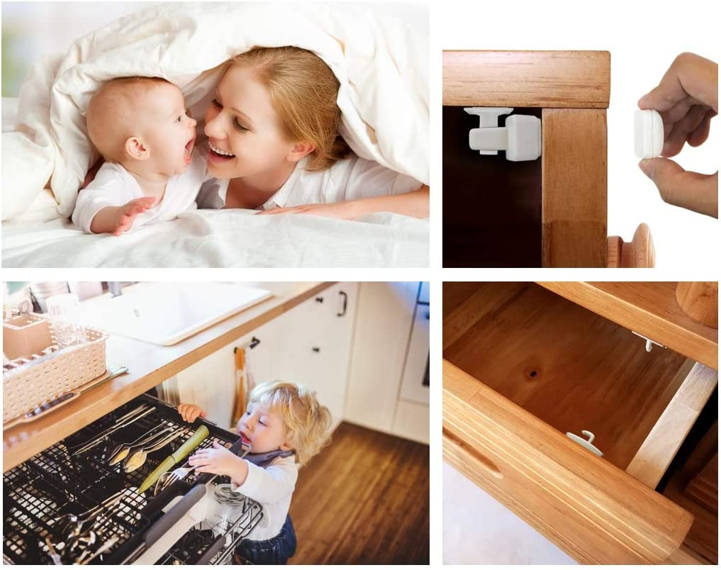by Midville Glen 2018 New Easy Installation and Hidden from The Outside Child and Baby Safety Magnetic Cupboard Locks 8 Locks and 2 Keys