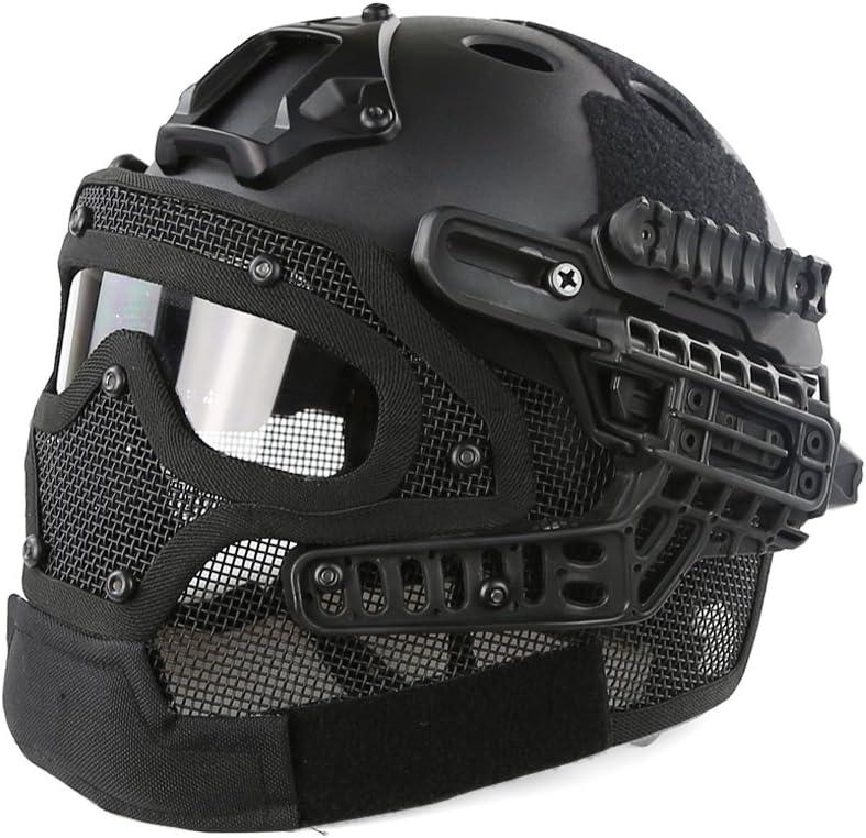 Casco protector con máscara y gafas tácticas para juegos de guerra de paintball y airsoft, material ABS