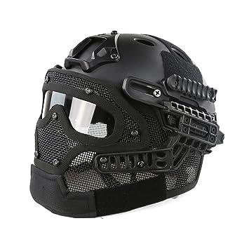 Casco protector con máscara y gafas tácticas para juegos de guerra de paintball y airsoft,