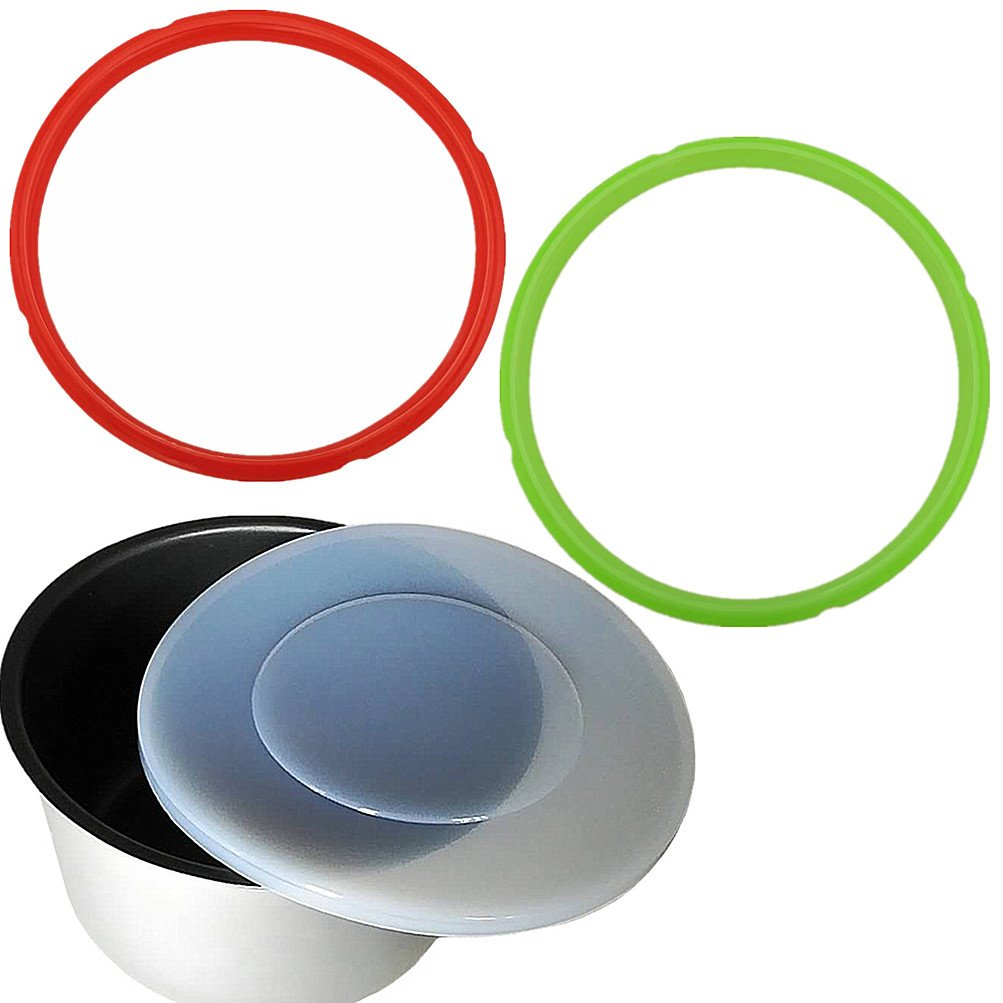 3 Pack Silicone Lid Cover with Sealing Rings 5 or 6 Quart Red & Green and White - Fits Instant Pot 6 qt Models Ring Seal Accessories