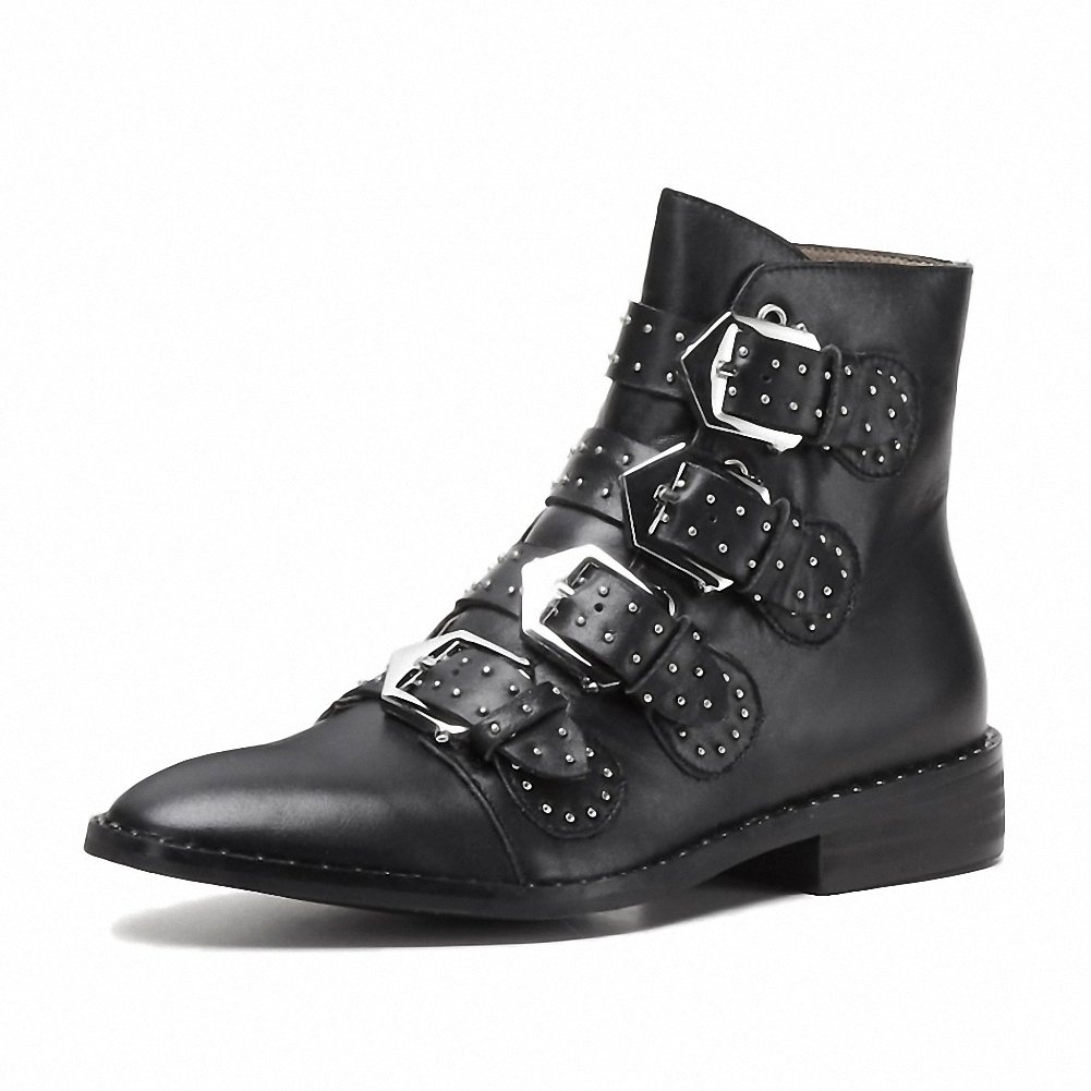 Comfity Women's Rivets Studded Shoes Metal Buckle Low Heels Ankle Boots B07FMPXLGN 34 (M) EU|Black