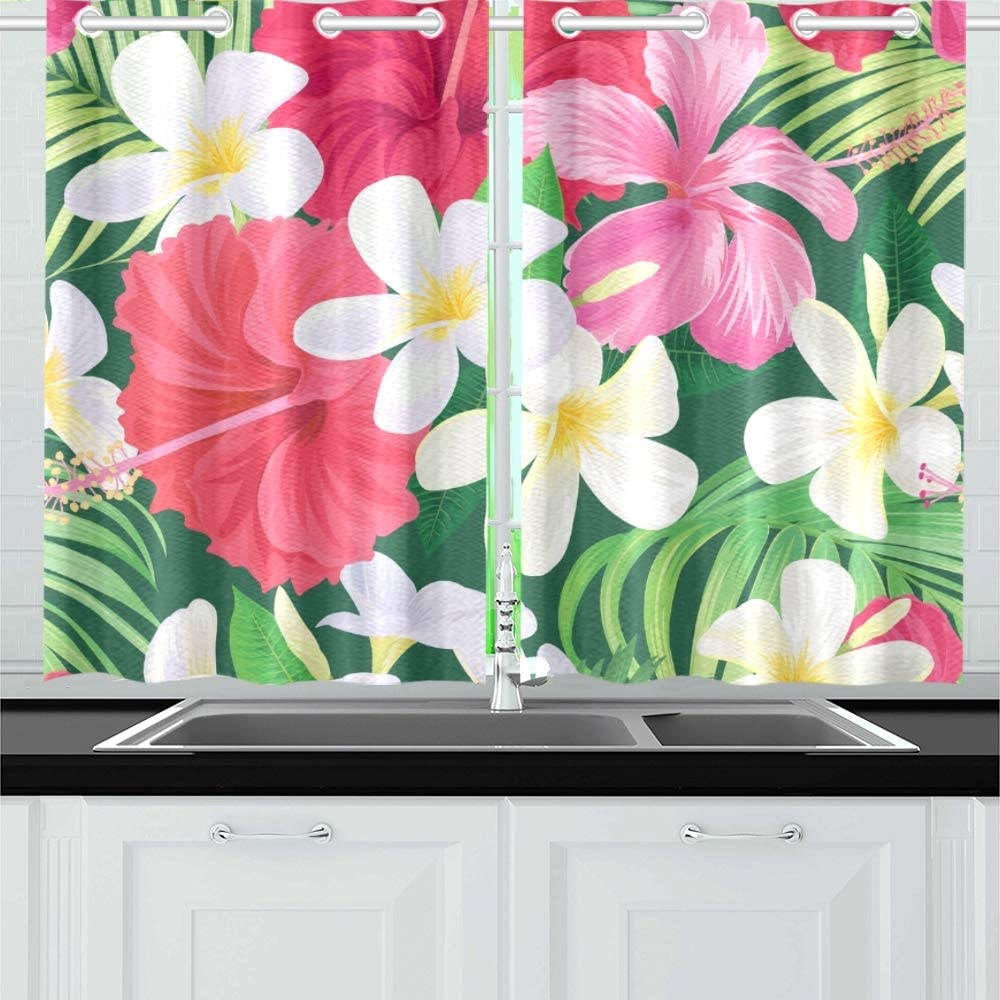 Enevotx Tropical Hibiscus Plumeria Flower Kitchen Curtains Window Curtain Tiers For Café Bath Laundry Living Room Bedroom 26 X 39 Inch 2 Pieces Home Kitchen