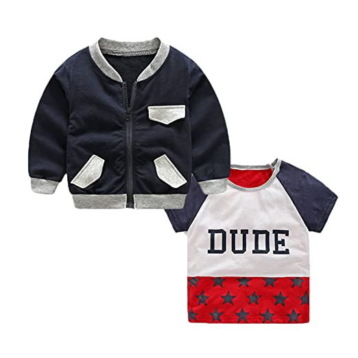 bed910ad1 Amazon.com  Little Boys Clothing Sets Track Jackets + Short Sleeve T ...