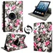 Cellularvilla for Apple iPad Mini (2012) 7.9 Inch / iPad Mini 2 (2013 Edition) 7.9 Inch Retina Display Case 360 Degree Rotating Black Pink Flower Pu Leather Flip Folio Stand Case Cover Protector