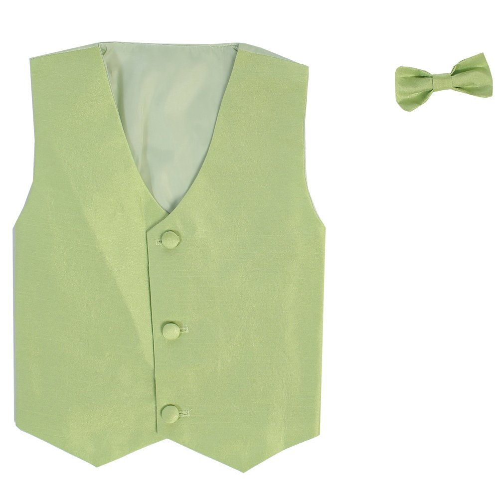 Lito Little Boys Apple Green Poly Silk Vest Bowtie Special Occasion Set 2T-7