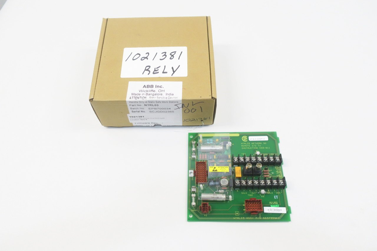 NEW ABB NTRL03 NETWORK 90 REMOTE I/O TU TERMINATION UNIT D590028