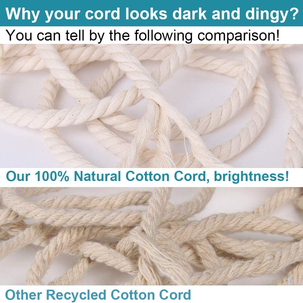Colored Macrame Rope Colorful Cotton Craft Cord for Wall Hanging Knitting NOANTA Black Macrame Cord 3mm x 328yards 3 Strand Twisted Cotton Rope Macrame Yarn Plant Hangers Crafts