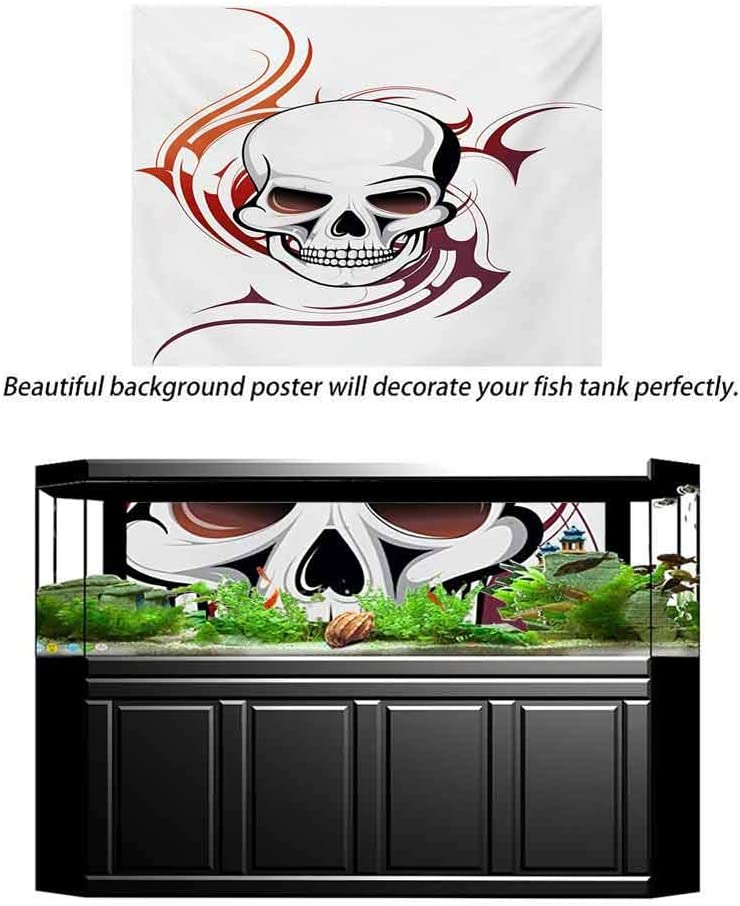 Tattoo Undersea Backdrop for Photography Scary Fierce and Wild Skull with Red Flames Tribal Artistic Tattoo Image Design Baby Shower Backdrop Kids Children Birthday Party Red and White L30 X H12 Inch
