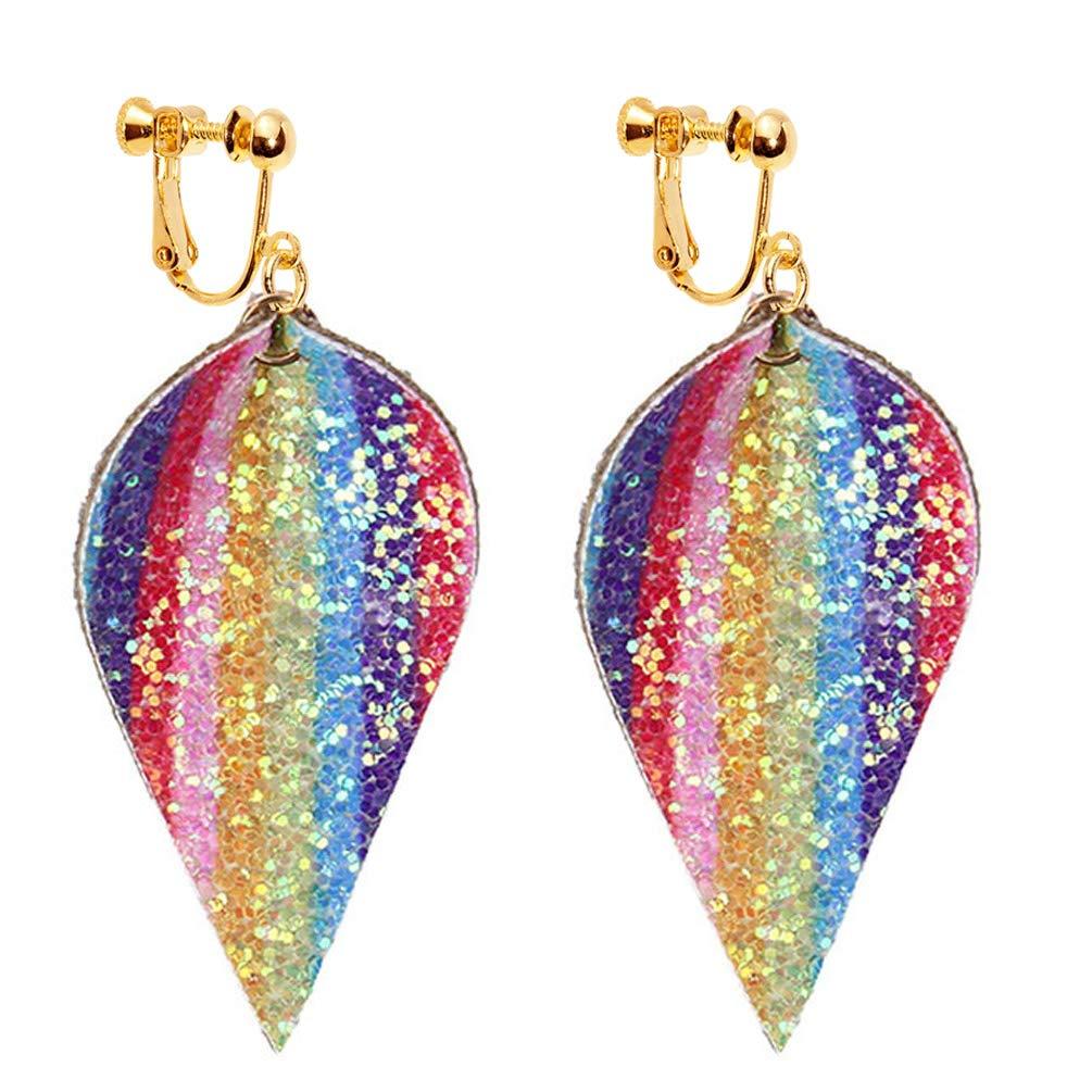 Sequin Petal Leather Clip on Earrings Leaf Faux Dangle Lightweight Drop Kid Girls Rainbow