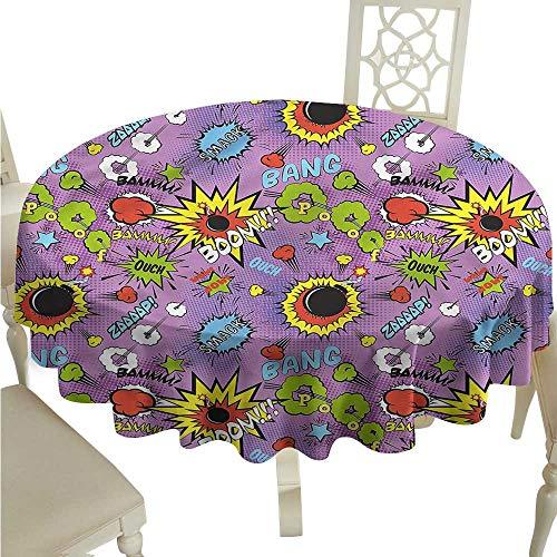 ScottDecor Printed Tablecloth Superhero,Comic Bubble Words Kids Christmas Tablecloth Round Tablecloth D 54