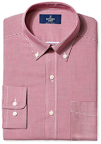 BUTTONED DOWN Men's Classic Fit Button-Collar Non-Iron Dress Shirt, Burgundy Gingham, 15.5