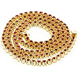 Luxurman Unique Ladies 10K Gold Natural 10.5 Ctw Ruby Necklace For Women