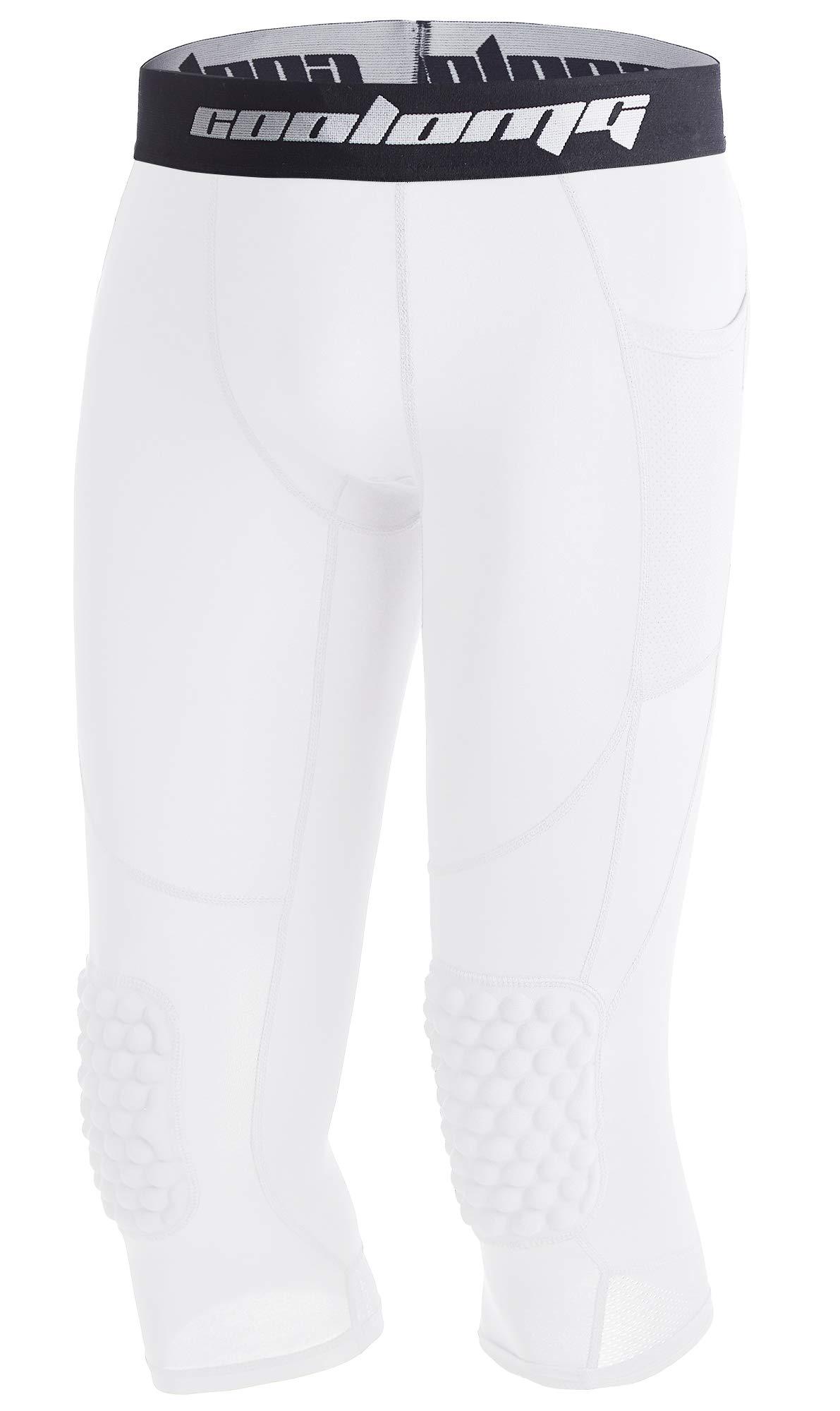 Legendfit Boys Basketball Knee Padded Pants 3/4 Kids Compression Tights Leggings White