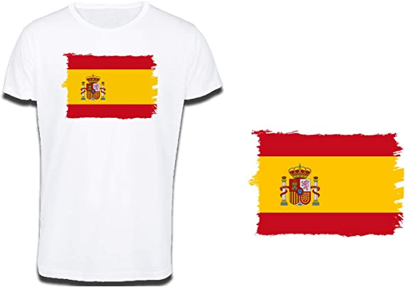 MERCHANDMANIA Camiseta Tacto ALGODÓN Bandera ESPAÑA Pais Unido ...