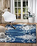 "SUMMIT BY WHITE MOUNTAIN Summit L1-1LPL-1V4W Chatham 204 Damask Area Rug, William BLUE (3′.8"" x 5 Blue), 3′.8"" x 5′ Review"