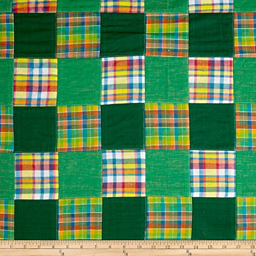 (Textile Creations Madras Patchwork Plaid/Yellow/Pink Fabric by The Yard, Green)
