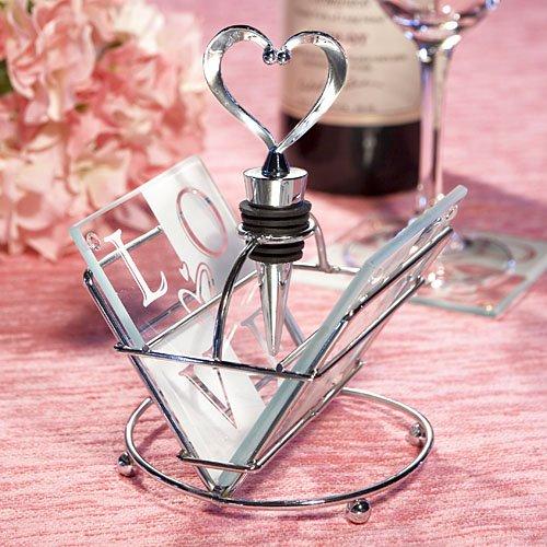 Love Design Coaster and Wine Bottle Stopper Sets
