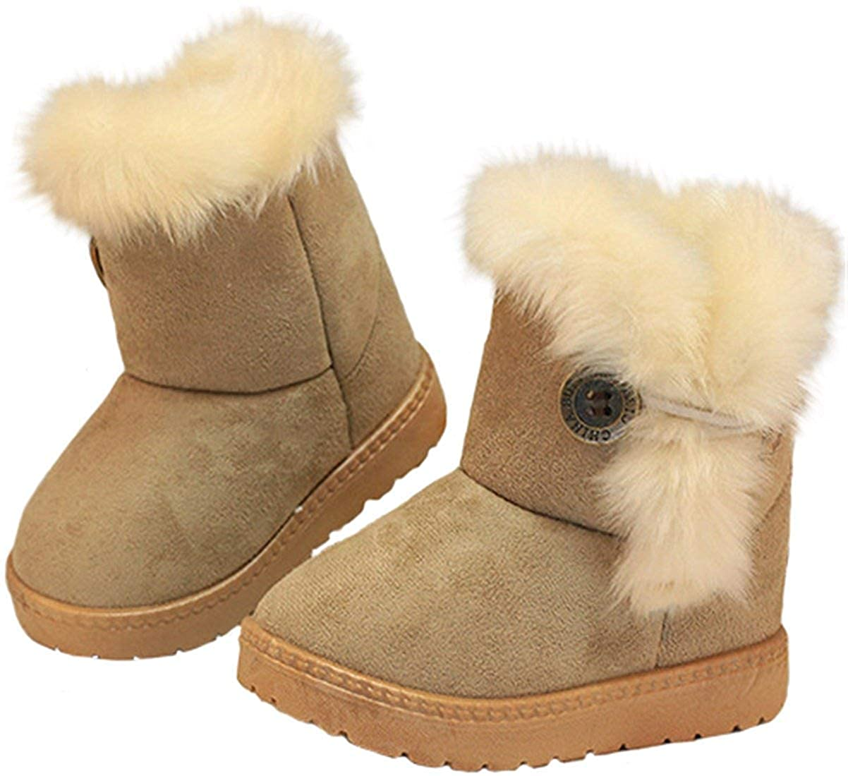 MOREMOO Babys Girls Boys Lovely Flat Button Winter Warm Snow Boots Toddler//Little Kid