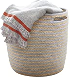 LA JOLIE MUSE Storage Baskets Nursery Toy Woven Basket, Dorm Room Cotton Rope Linen Organizer with Handle,14''x14'' for Towel, Laundry, Blanket, Gray