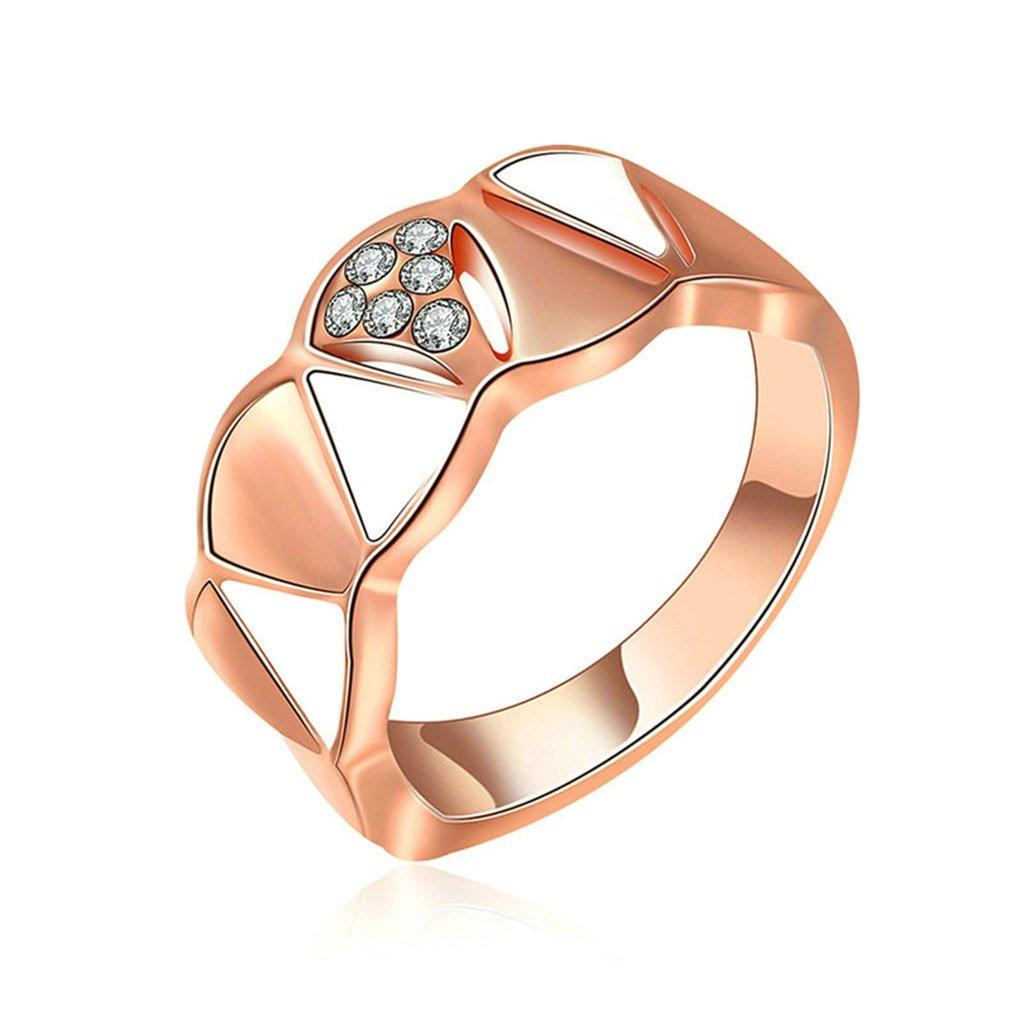 Epinki Fashion Jewellry Gold Plated Womens Wedding Ring Cubic Zirconia Geometry Rose Gold