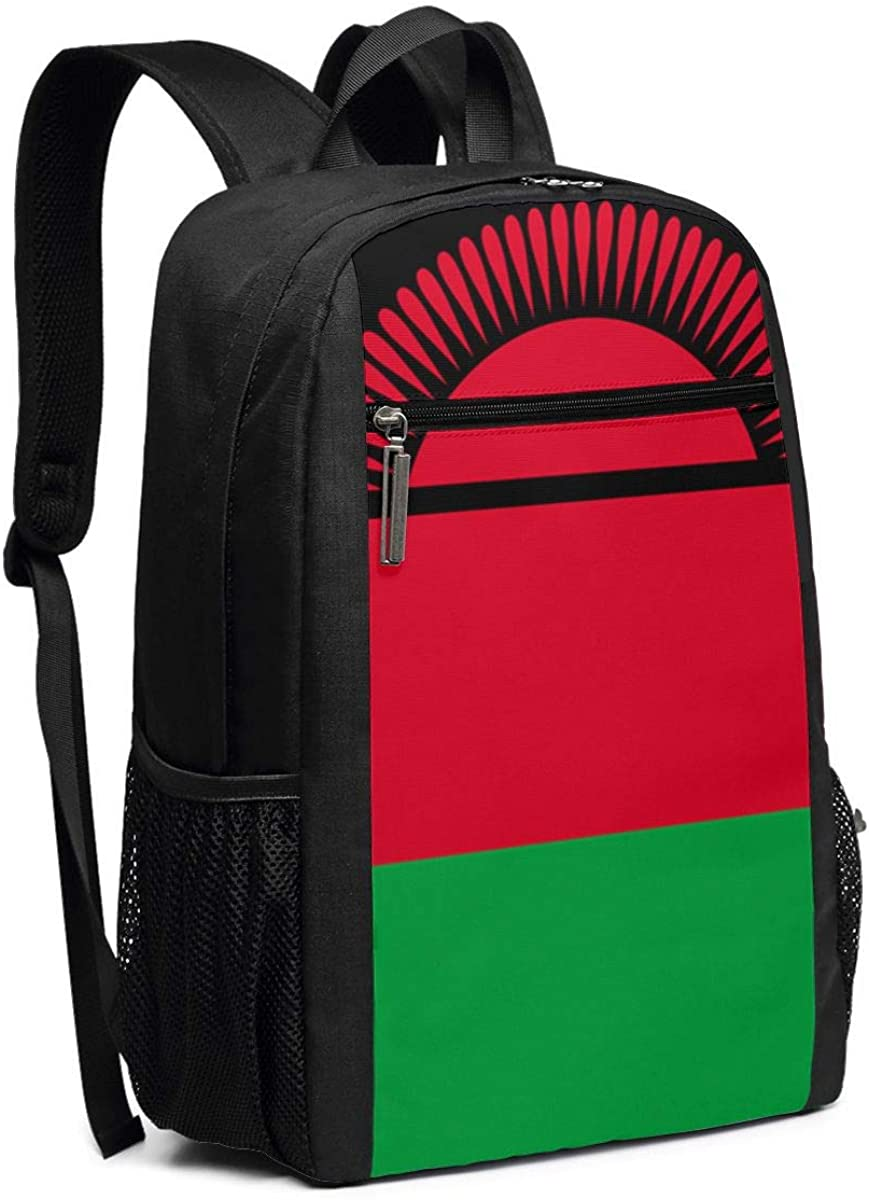 XTYND556 Flag of Malawi College Commuter Backpack Large Capacity Laptop Bag 17 Inch Travel Bag