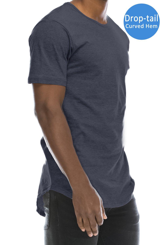 JC DISTRO Mens Hipster Hip Hop Basic Elong Crewneck T-Shirt HNAVY Large