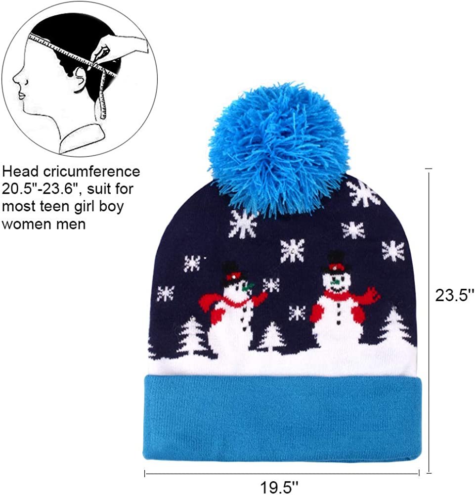 Unisex Winter Snow Hat Sweater Holiday Hat Party with 2 Replaceable Cell Batteries Pulchram LED Christmas Hat Light Up Beanie Hat Knit Cap 6 Colorful LED Xmas Christmas Hat Beanie