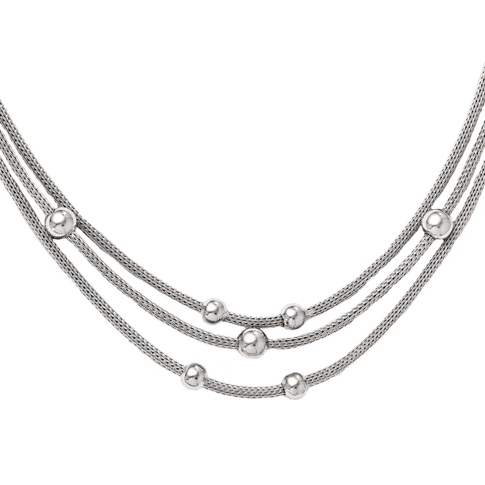 """Leslie's Polished 925 Sterling Silver Three Strand Layered Beaded Mesh Necklace, Fancy Lobster 18.5"""""""