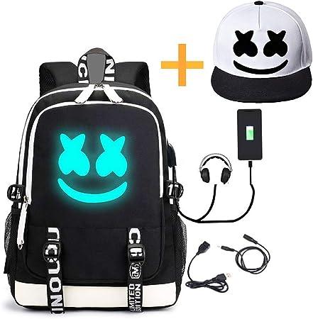 DJ Marshmello Backpack Travel Laptop Bag 3pcs Schoolbag Lunchbag Penbag BookbagM