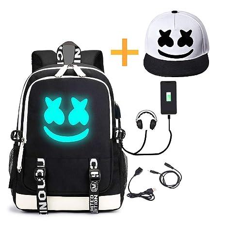 nuovo di zecca ac874 f5575 He-Bag Marshmallow Zaino DJ Luminoso con Porta di Ricarica USB, Zaino da  Viaggio Unisex Moda da Viaggio (FM)
