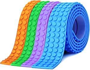 WITAR Toy Block Tape 4 Rolls/3.2feet Building Block Tape Silicone Toy Building Sticky Strips Self Adhesive Block Tapes for Building Blocks(Compatible with Lego Brand Products)