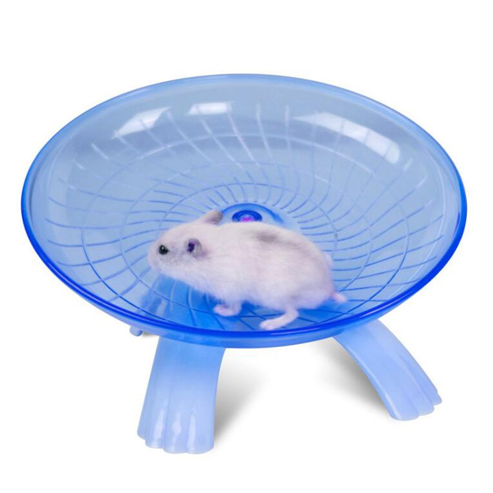 JOLIN'S SHOP Plastic Hamster Flying Saucer Exercise Wheel Running Spinner Sports Toy for Small Pet Rat Gerbil Mice Chinchilla Guinea Pig Squirrel (Blue)