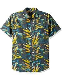 Men's Standard Fit Short Sleeve Woven Party Shirt