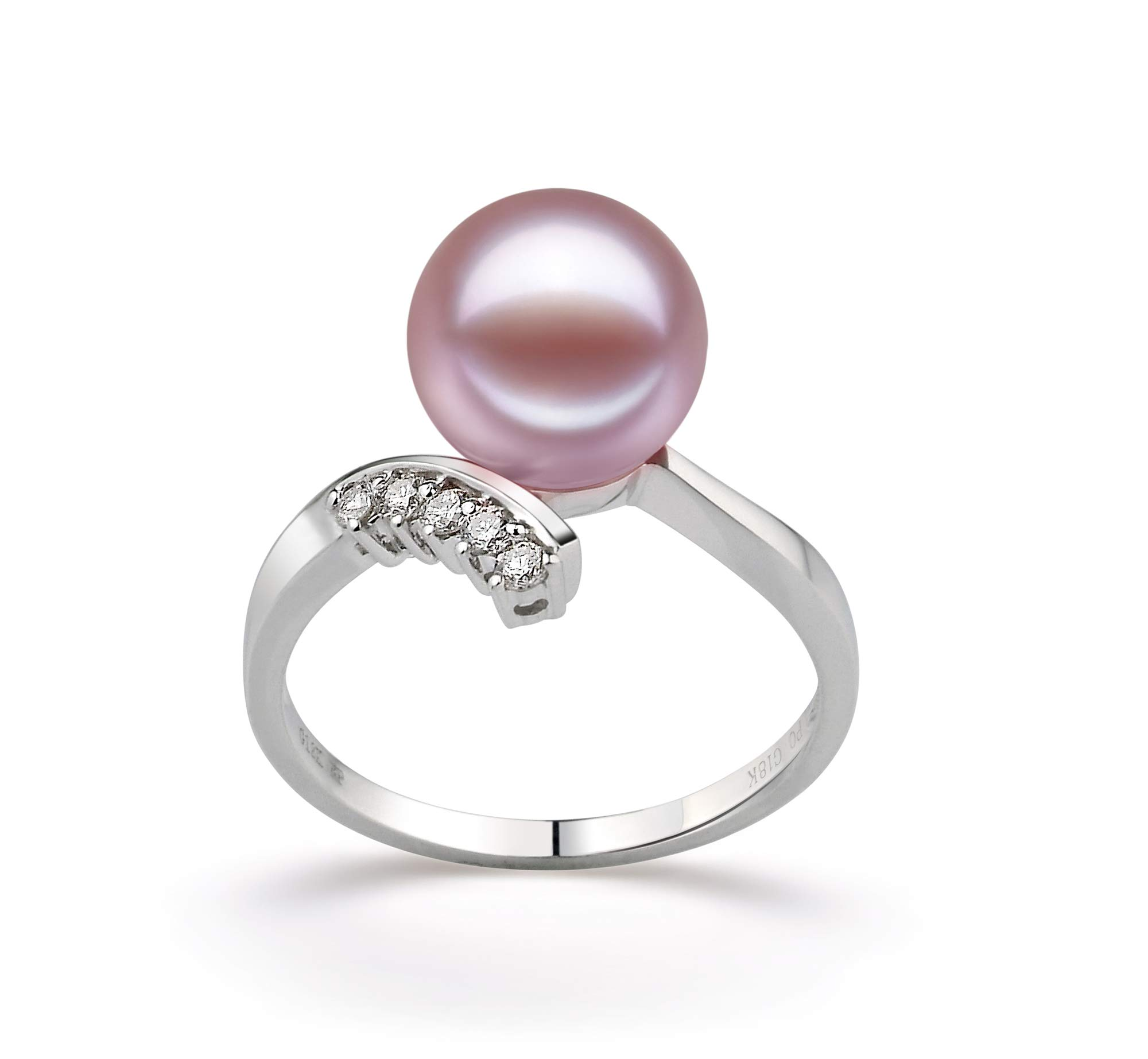 Grace Lavender 9-10mm AAAA Quality Freshwater 14K White Gold Cultured Pearl Ring For Women - Size-8