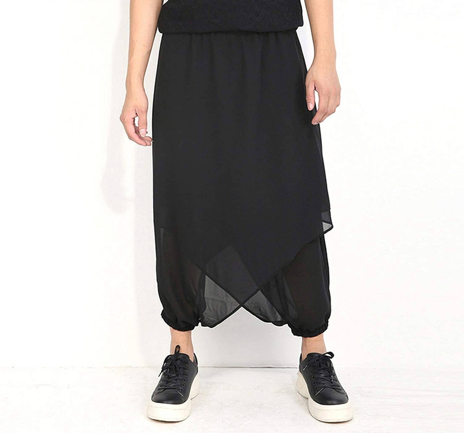 Length Summer Cool Big Size 5XL Cross-Pants Pants Men Chiffon Women Male Hiphop Pants Loose Fit Drop Crotch