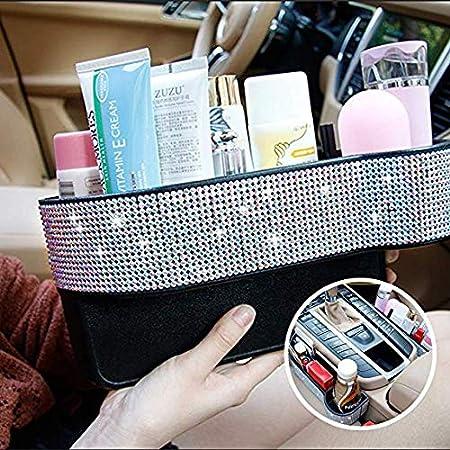EING Crystal Car Seat Catcher Gap Filler Organizer Side Slit Pocket Coin Side Pocket Console Side Pocket Car Organizer Storage Box,Bling-2PC