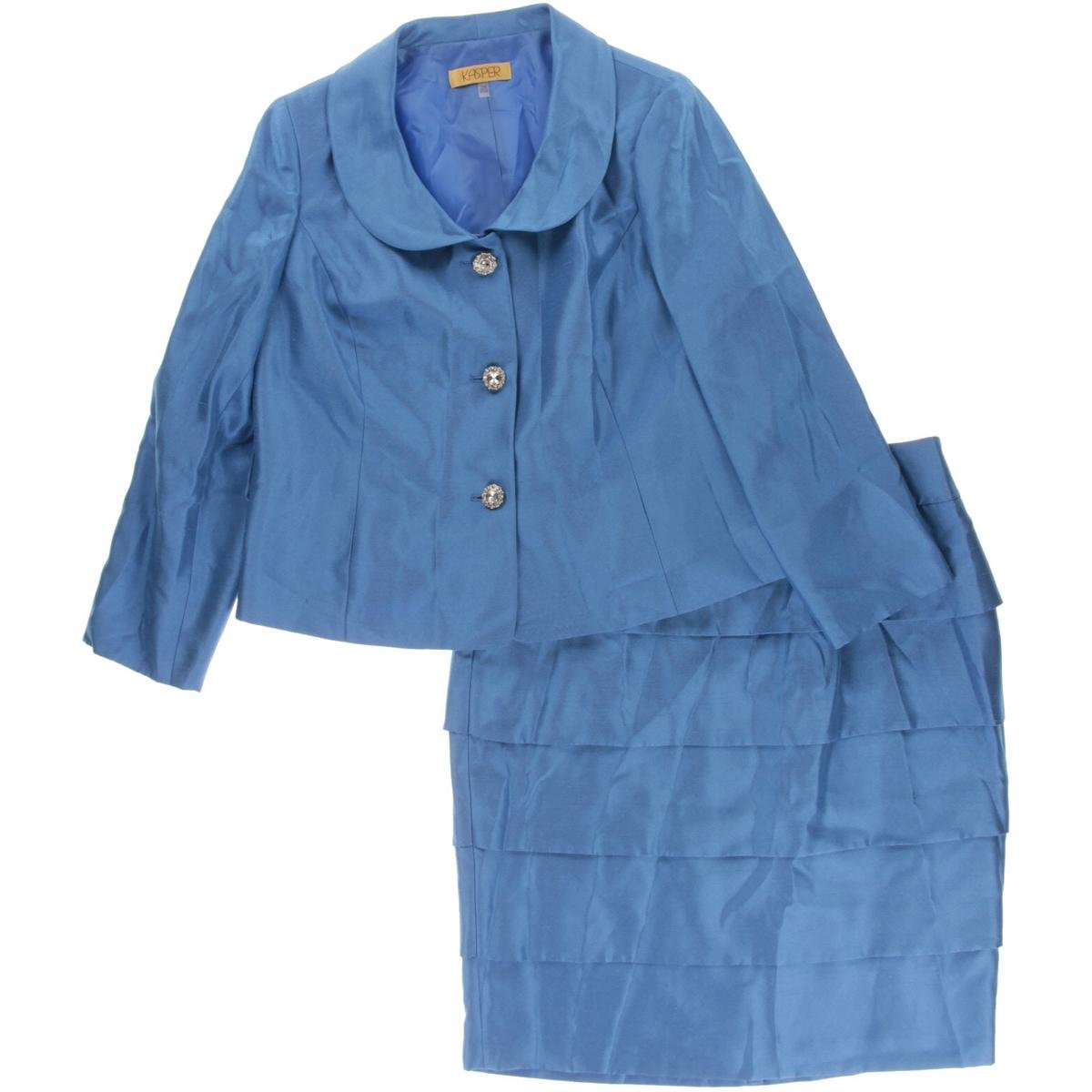Kasper New Womens Ocean Blue Tiered 2pc Plus Size Skirt Suit