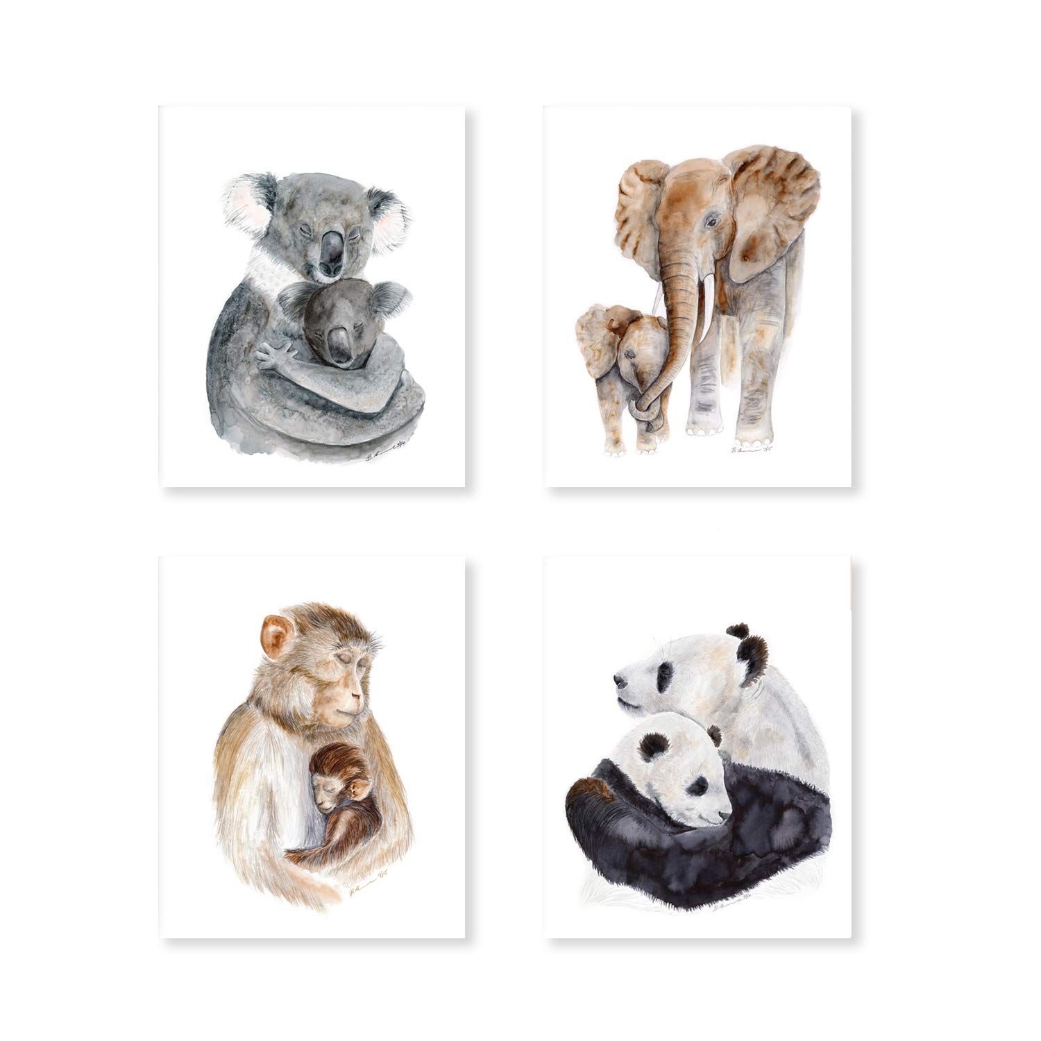 Amazon Com Set Of 4 Jungle Animal Nursery Prints Mom And Baby Animal Watercolor Art Baby Room Decor Elephant Monkeys Koala And Panda Selection Of Alternate Animals And Sizes Available Handmade